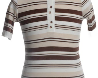 Vintage 1960's Striped Mod Polo Shirt XS - www.brickvintage.com