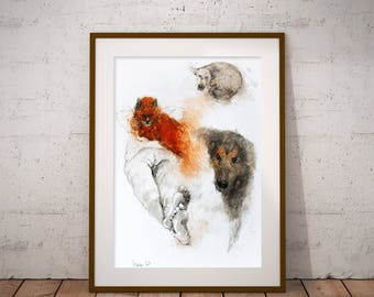 Watercolor painting of dogs with a cat. Watercolor animal portrait. Cat watercolor painting. Dogs watercolor painting. Animal art.