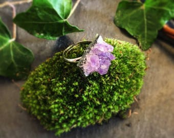 Amethyst crystal ring & white gold | Crystal ring | Geode ring