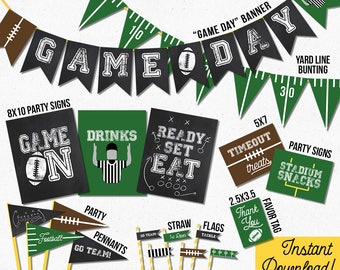 Football Instant Download Party Decorations | Football Party Signs, Banner, Favor Tags, Flags, Pennants | Tailgate Shower Party Decor