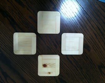 Wood Drink Coaster Set of 4