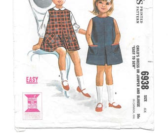 1960s Child's DRESS or JUMPER and BLOUSE Vintage Sewing Pattern ~ Size 6X ~ McCall's 6938 ~ Flared Dress Inverted Pleat ~ Patch Pockets