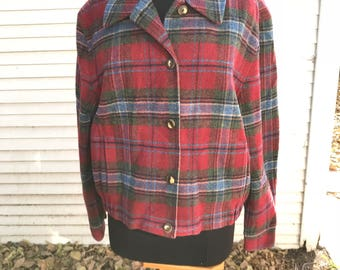 Plaid Wool Pendleton Jacket Cropped Bomber/Log Cabin/North Woods/Menswear Look/Boyfriend/1970s 80s/Red Gray Blue/Large/Camping/Glamping