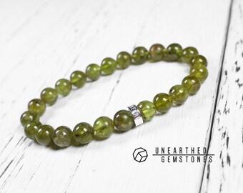 Genuine Peridot Bracelet - Olivine, Green Beaded Bracelet, Nature Bracelet, Peridot Jewelry, Green Jewellery, Green Bracelet