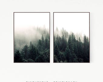 Set of 2 Prints Pine Trees Wall Decor Nordic Print Poster Scandinavian Landscape Wild Nature Wilderness Green Minimalist Forest Misty 1008
