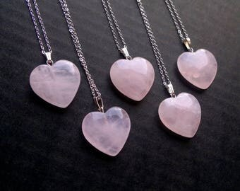 Pink rose pendant etsy heart necklace rose quartz necklace rose quartz pendant rose quartz heart quartz jewelry valentines day gift audiocablefo light ideas