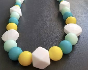 Teething Necklace - Jewelry - White, Yellow, Blue