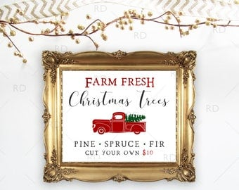 Farm Fresh Christmas Tree Sign - PRINTABLE Wall Art / Trees for sale sign / Printable Christmas tree sign / Farm fresh Christmas trees sign