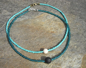 choker necklace dainty turquoise glass seed beads black lava stone or cream river stone beaded choker necklace
