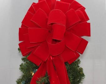 Red Velvet Christmas Tree Topper Bow - Red Velvet Christmas Bow