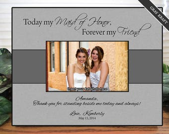 Maid of Honor Frame, Bridesmaid Frame, Personalized Gifts, Custom Picture Frame