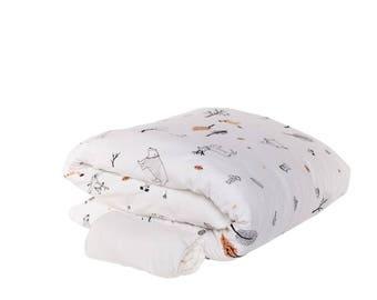 Woodland Cot Bedding Set, Neutral White Forest Bedding Set, Animal Print Bedding Set, Girl Bedding Set, Boy Bedding Set, Baby Bedding Set