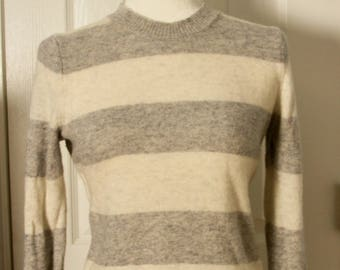 Vintage 90s Gap Lambswool Gray & Cream Striped Sweater Size S