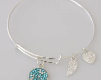 AA1051B  Aqua and Clear Pave Crystal Adjustable Wire Bracelet w Small Angel Wing & Heart Charms ~ Silver Plated