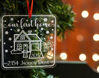 Our First Home Christmas Ornament, Personalized Christmas Ornament, First Home Ornament, Housewarming Gift, Couple Ornament
