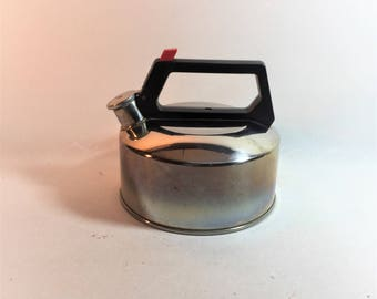 Vintage Farberware Whistle Stainless Tea Kettle, 12 Cup