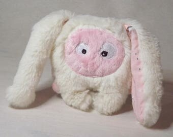 """Plush Bunny soft and original """"mini-bestiole"""" white cream and pale pink by Chatfildroit"""
