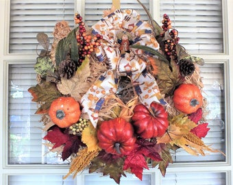 Rustic Fall Shredded Cornhusk Wreath with Scarecrow Ribbon with Rose Gold Metallic Edging