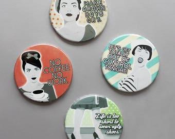 cute as a button Comic Pop Art Magnete-Set - Retro Women