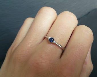 Skinny Sapphire Diamond Trilogy Engagement Ring