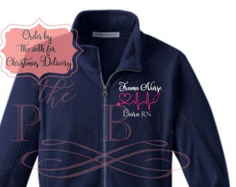 Xmas Delivery Ladies Fleece Embroidered Preppy Monogram Nurse Stethoscope Embroidered Personalized Sweatshirt Full Zip Sweater