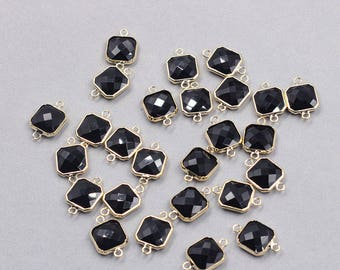 4 Pcs Faceted Crystal Bezel Connectors -- With Electroplated Gold Edge Charms Wholesale Supplies YHA-326-4