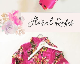 Pink Bridesmaid Robes Set - You Choose Qty - Pink Floral Robes - Getting Ready Robes (EB3152)