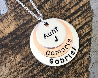 Aunt Necklace Auntie Necklace Handstamped Necklace Copper Jewelry Personalized Necklace Gift for Sister Gift for Aunt Mothers Day Gift
