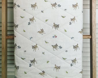 SALE!! Baby Quilt, 'Classic Bambi' Fabric Front and Floral Fabric Back
