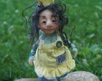 Friedl, OOAK needle & wet felted doll