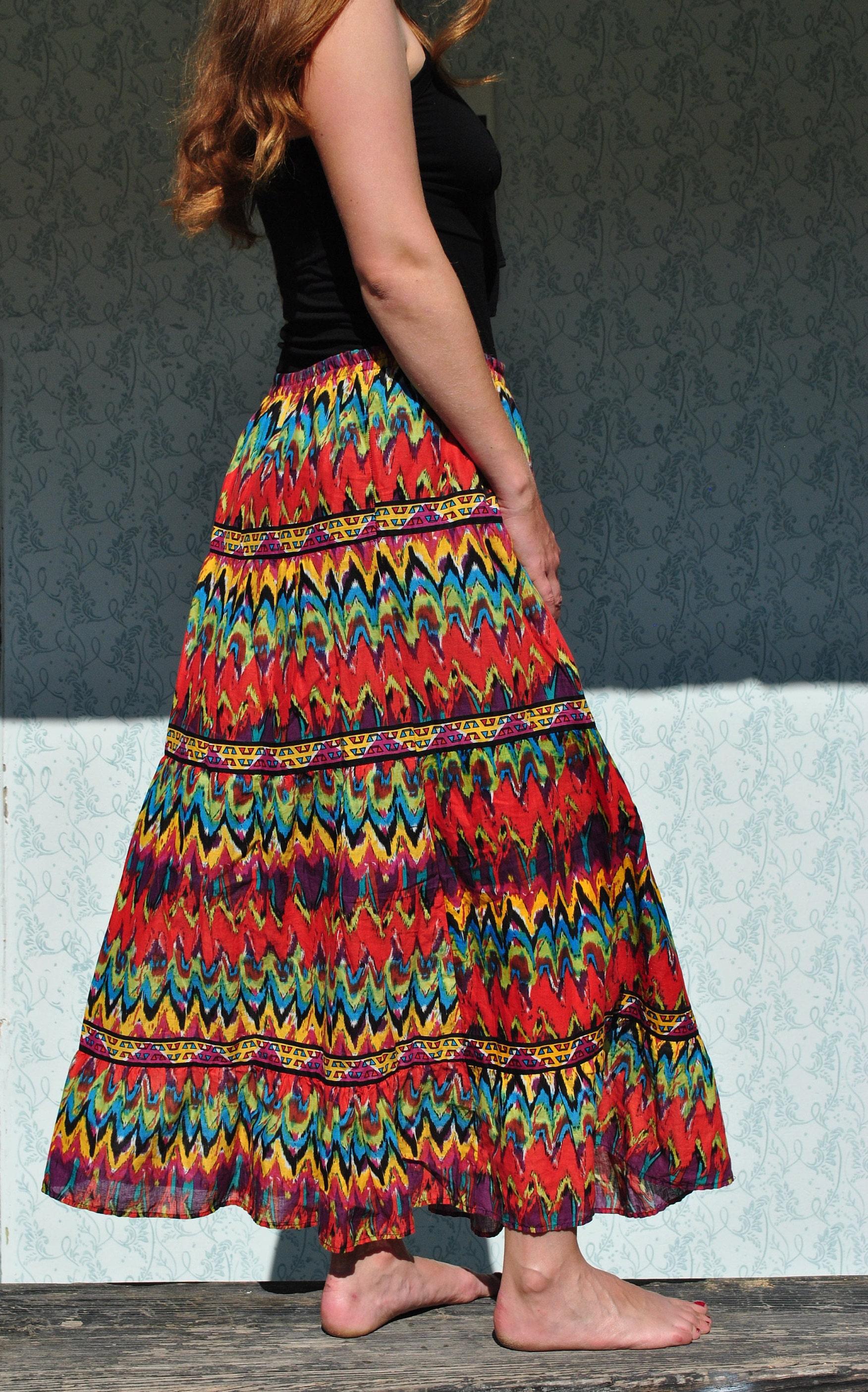 colorful maxi skirt large colorful skirt boho maxi skirt
