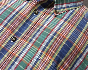 1990s Tommy Hilfiger Long Sleeve Plaid Shirt / Vintage Hilfiger Button Up / Down Shirt Retro Throwback 90's Clothing FREE SHIPPING