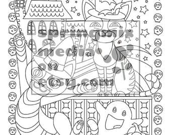 Printable Halloween Coloring Page - Cats and Ghosts - Sweet Halloween Coloring