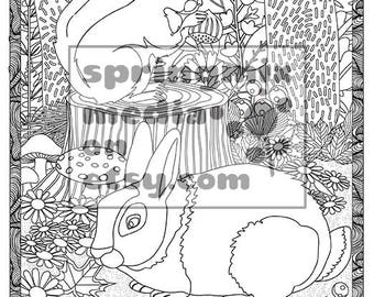 Cat Coloring Page Minkas Journey Animal And Nature Pages To Color Rabbit Woods