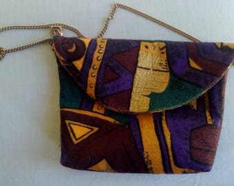 African Inspired Print Fabric Purse With a Gold-tone Chain Handle