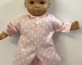 "15 inch Bitty Baby Clothes, Pretty ""PINK w/White POLKA Dots"" Romper/Sleeper, 15 inch AG Bitty Baby Clothes or Twin Doll Clothes, Cuddly Soft"