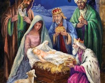 Monogrammed Nativity Religious, Baby Jesus, Holy Night Garden Flag
