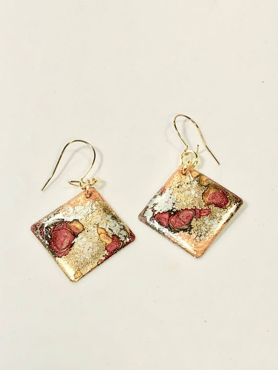 Handmade small diamond shape gold/silver/orange/red enamel gold filled earrings with abstract designs