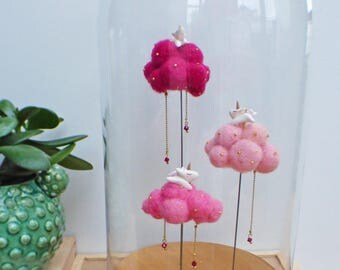 my little unicorns on shades of pink wool cloud glass decorative Bell
