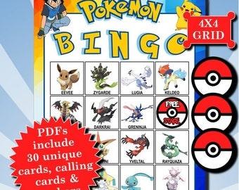 POKÉMON 4x4 Bingo printable PDFs contain everything you need to play Bingo.