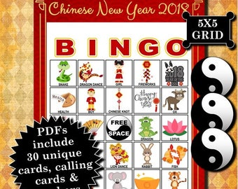 Chinese New Year 2018 5x5 Bingo printable PDFs contain everything you need to play Bingo.