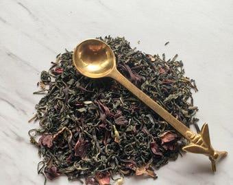 Organic Dragons Breath Tea. Loose Leaf Tea. Herbal Tea. Jasmine Green Tea. Hibiscus Green Tea. Energizing Tea. Natural Energy.