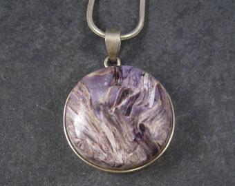 Large Vintage Charoite Pendant Necklace