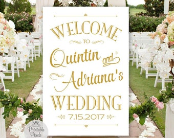 Printable Wedding Welcome Sign, Gold Matte Lettering, Personalized with Names and Date (#WEL1G)
