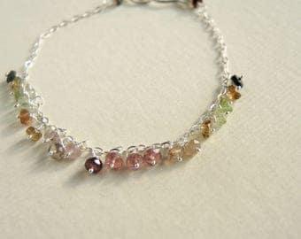 Watermelon Tourmaline multi color silver bracelet, Colorful gem bracelet, Silver wrapped bracelet, multi color bracelet, multi Tourmaline