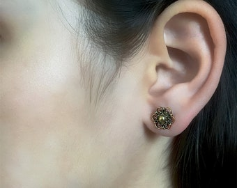 Brass Studs - Tiny Studs - Small Studs - Tribal Studs - Indian Studs - Ethnic Studs - Tiny Earrings - Small Earrings - Brass Earrings