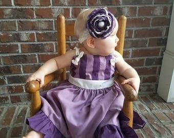 m2m Grommet in Grape: Handmade Flower Hair Clip (or headband) with pearl button, m2m Well Dressed Wolf Grommet in Grape Dress