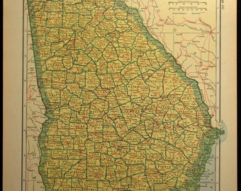 Georgia Map Georgia Antique Railroad Original 1920s Yellow