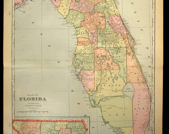 Vintage west palm beach map Etsy