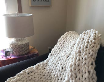 Comforting Hand Knit Bulky Blanket in Antique